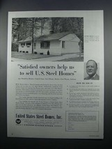 1954 United States Steel Homes Ad - Satisfied Owners - $14.99