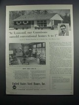 1954 United States Steel Homes Ad - Lynwood Gunnisons - $14.99