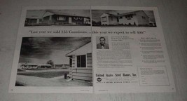 1954 United States Steel Homes Ad - Sold 155 Gunnisons - $14.99