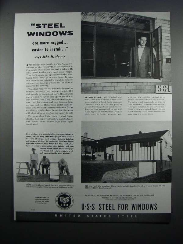 Primary image for 1954 United States Steel Windows Ad - More Rugged