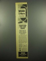 1954 Weed V-Bar Tire Chains Ad - Traction you Trust - $14.99