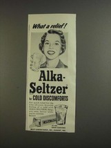 1955 Alka-Seltzer Medicine Ad - What a Relief - $14.99