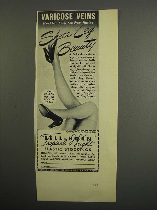 Primary image for 1952 Bell-Horn Tropical Weight Elastic Stockings Ad