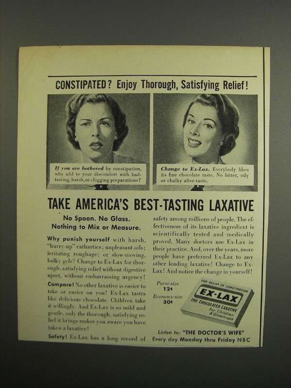 Primary image for 1952 Ex-Lax Laxative Ad - Constipated?