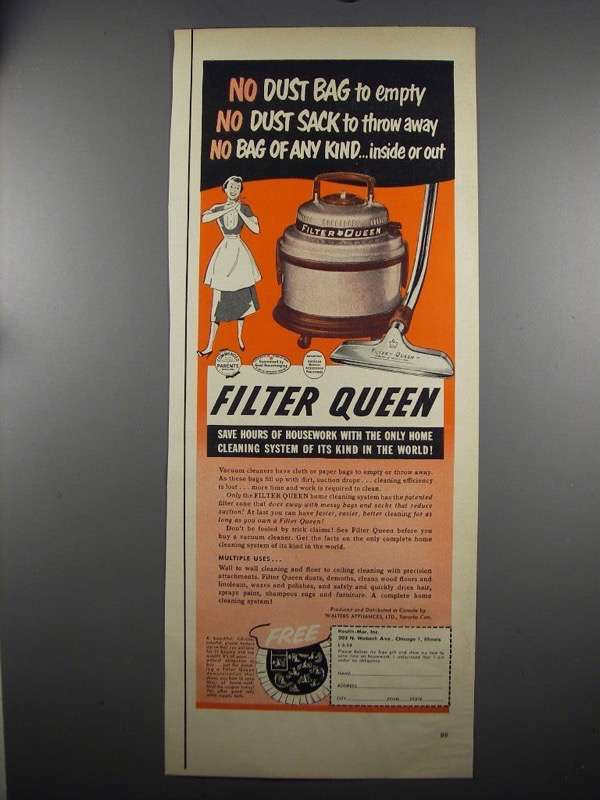 Primary image for 1952 Filter Queen Vacuum Cleaner Ad - No Dust Bag