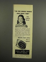 1952 Fleer's Dubble Bubble Gum Ad - Cynthia Brown - $14.99