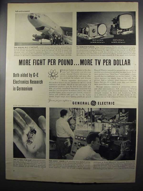 Primary image for 1952 General Electric Germanium Products Ad