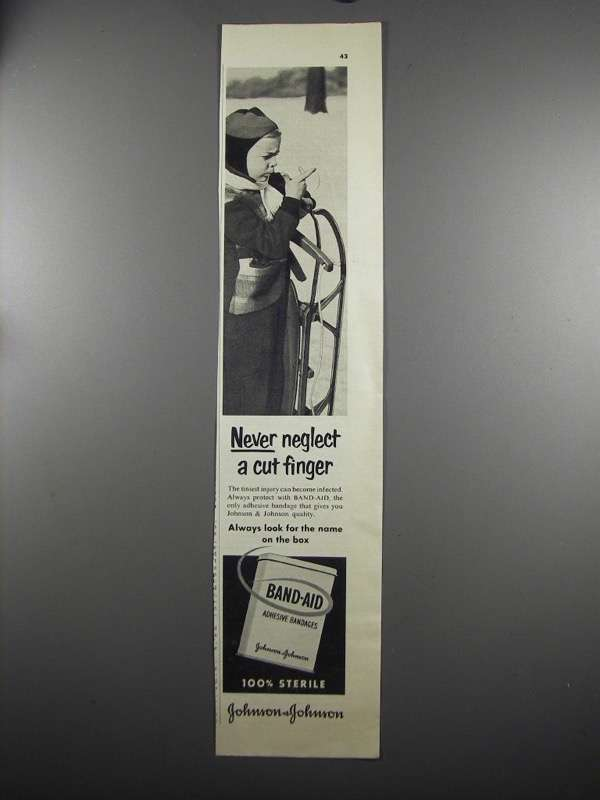 Primary image for 1952 Johnson & Johnson Band-Aid Ad - Never Neglect Cut