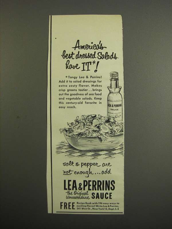 Primary image for 1952 Lea & Perrins Worcestershire Sauce Ad - Salads