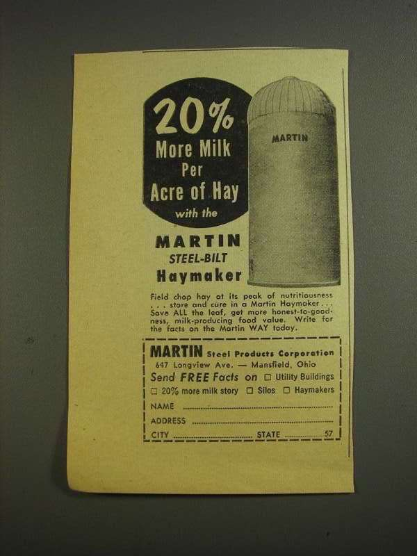 Primary image for 1955 Martin Steel Products Haymaker Ad - More Milk