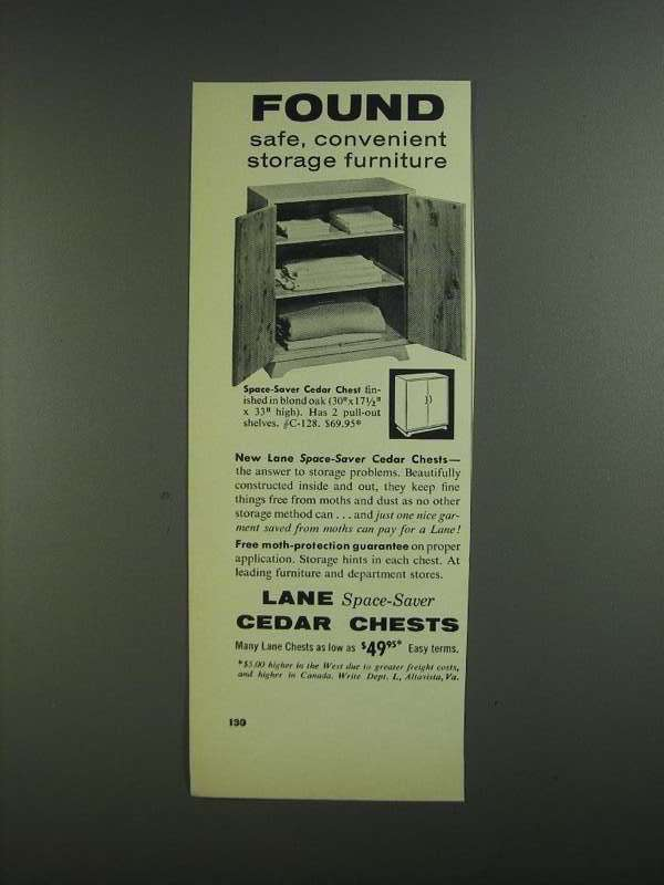 Primary image for 1955 Lane Space-Saver Cedar Chest Ad - Found