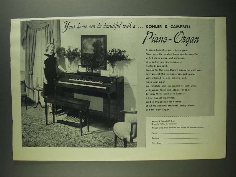 Primary image for 1955 Kohler & Campbell Piano-Organ Ad