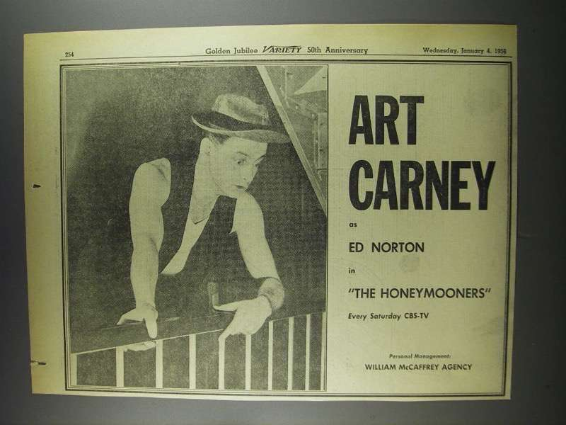 Primary image for 1956 CBS-TV The Honeymooners Ad - Art Carney