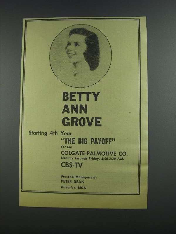 Primary image for 1956 CBS-TV The Big Payoff Ad - Betty Ann Grove