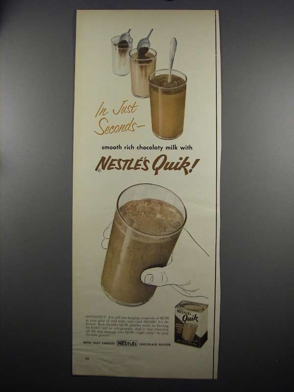Primary image for 1952 Nestle's Quik Ad - In Just Seconds