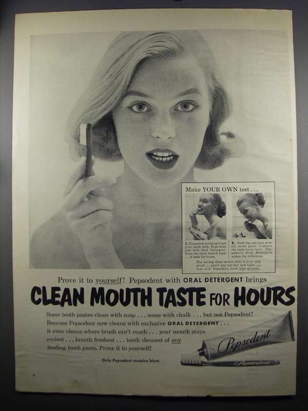 Primary image for 1952 Pepsodent Toothpaste Ad - Clean Mouth Taste