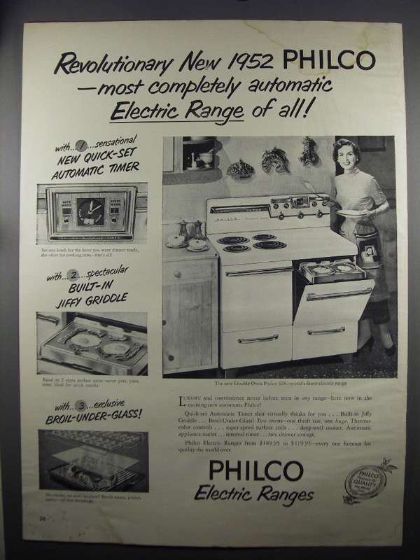 Primary image for 1952 Philco Double Oven 428 Range Ad - Revolutionary