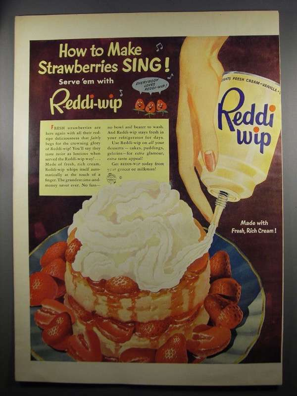 Primary image for 1952 Reddi-Wip Whipped Cream Ad - Strawberries Sing!
