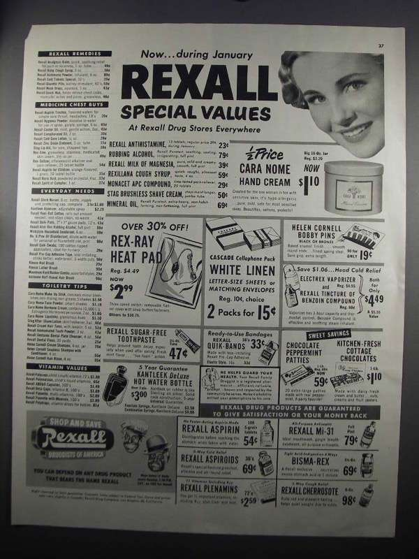 Primary image for 1952 Rexall Drug Stores Ad - Special Values