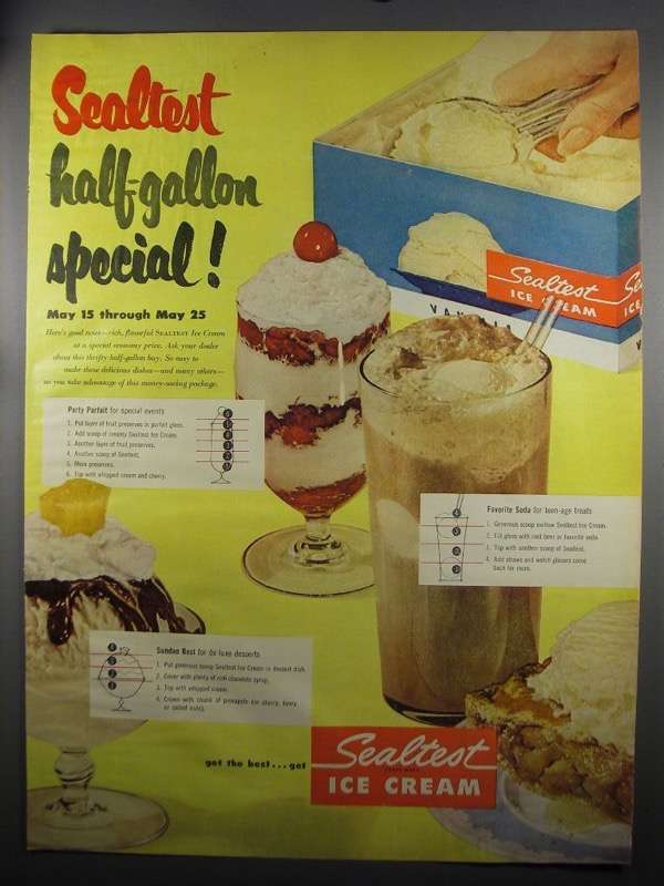 Primary image for 1952 Sealtest Ice Cream Ad - Half-Gallon Special