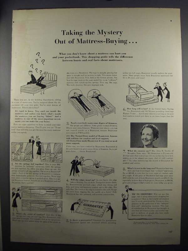 Primary image for 1952 Simmons Beautyrest Mattress Ad - The Mystery