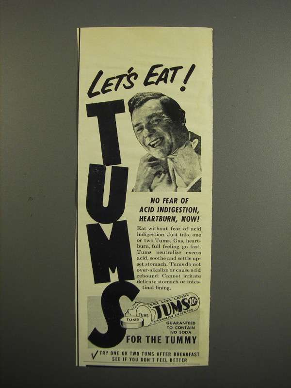Primary image for 1952 Tums Medicine Ad - Let's Eat!