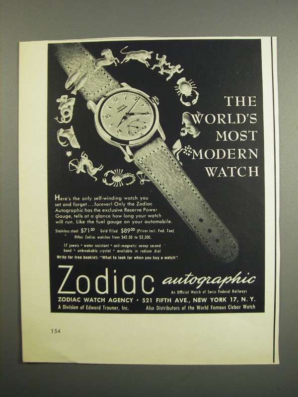 Primary image for 1952 Zodiac Autographic Watch Ad - World's Most Modern