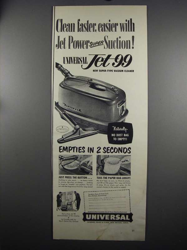 Primary image for 1952 Universal Jet 99 Vacuum Cleaner Ad - Clean Faster