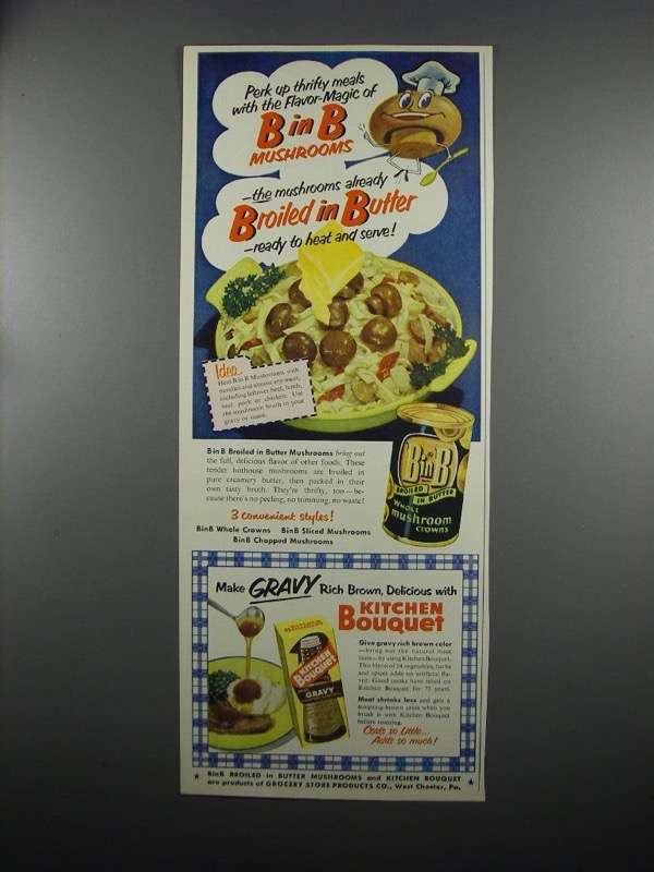 Primary image for 1953 B in B Mushrooms and Kitchen Bouquet Ad