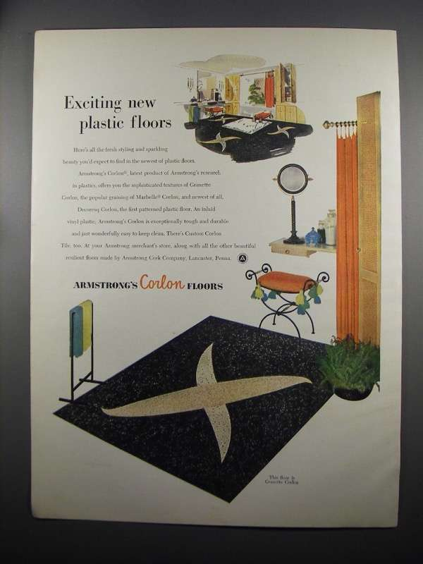 Primary image for 1953 Armstrong Granette Corlon Floor Ad - Exciting