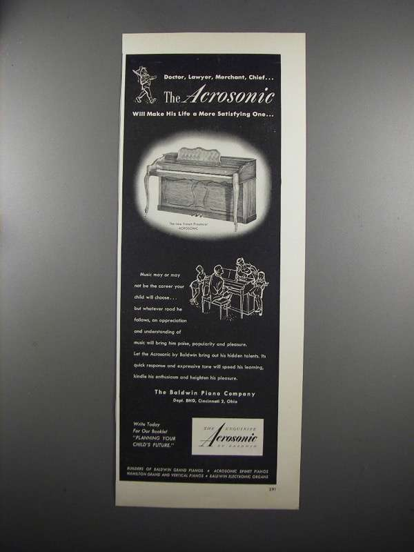 Primary image for 1953 Baldwin Arcosonic Piano Ad - Doctor, Lawyer