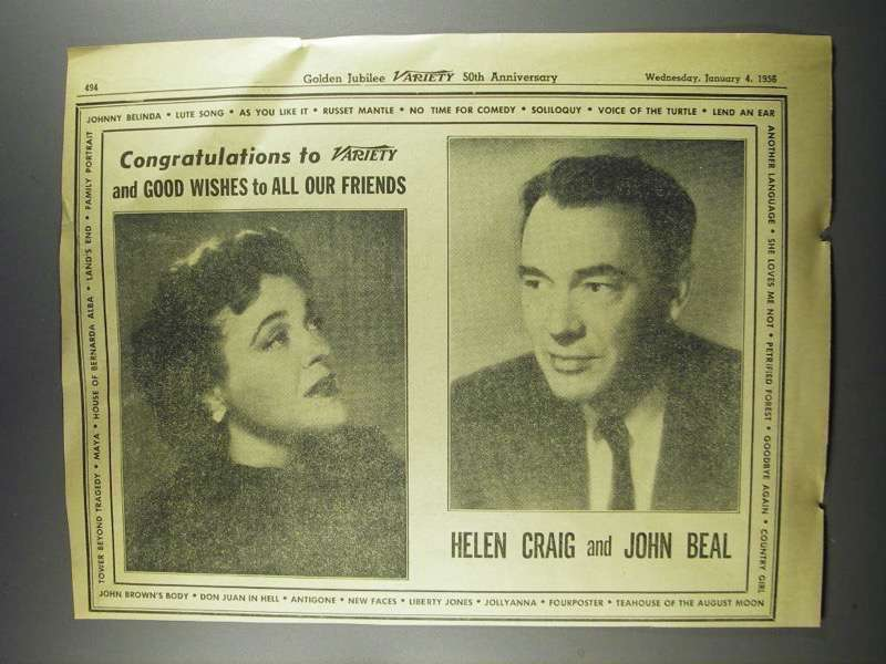 Primary image for 1956 Helen Craig and John Beal Ad - Variety 50th