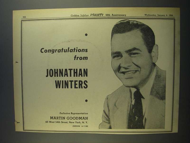 Primary image for 1956 Johnathan Winters Ad - Variety 50th Anniversary