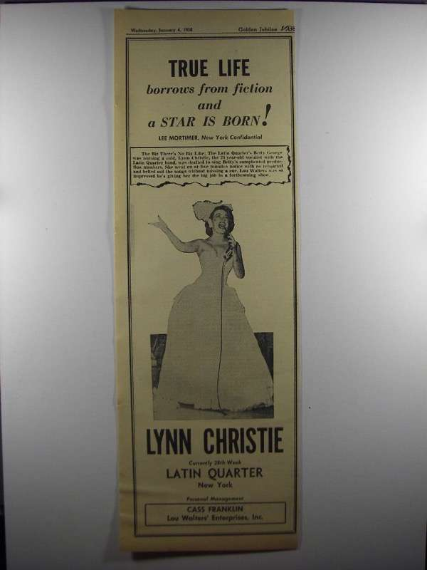 Primary image for 1956 Lynn Christie Ad - True Life Borrows from Fiction
