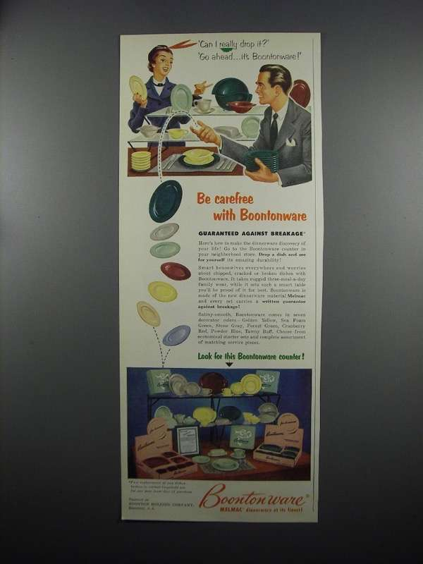 Primary image for 1953 Boontonware Melmac Dinnerware Ad - Be Carefree