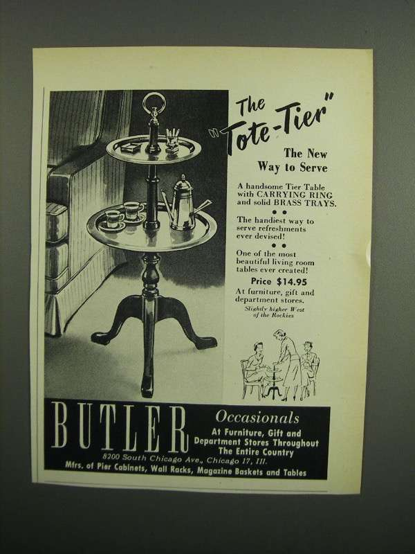 Primary image for 1953 Butler Tote-Tier Table Ad - New Way to Serve