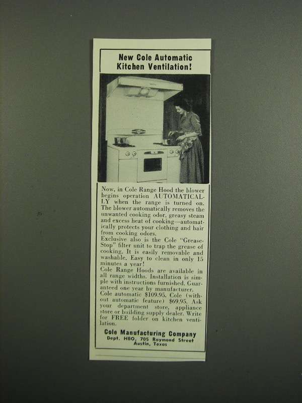 Primary image for 1953 Cole Range Hood Ad - Kitchen Ventilation