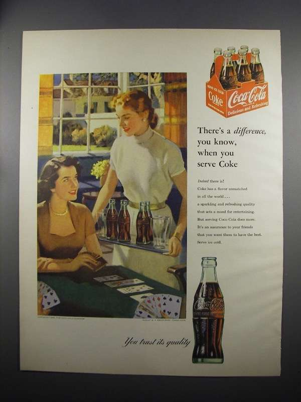 Primary image for 1953 Coca-Cola Soda Ad - There's a Difference