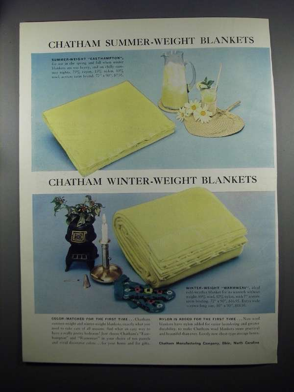 Primary image for 1953 Chatham Easthampton and Warmweav blankets Ad