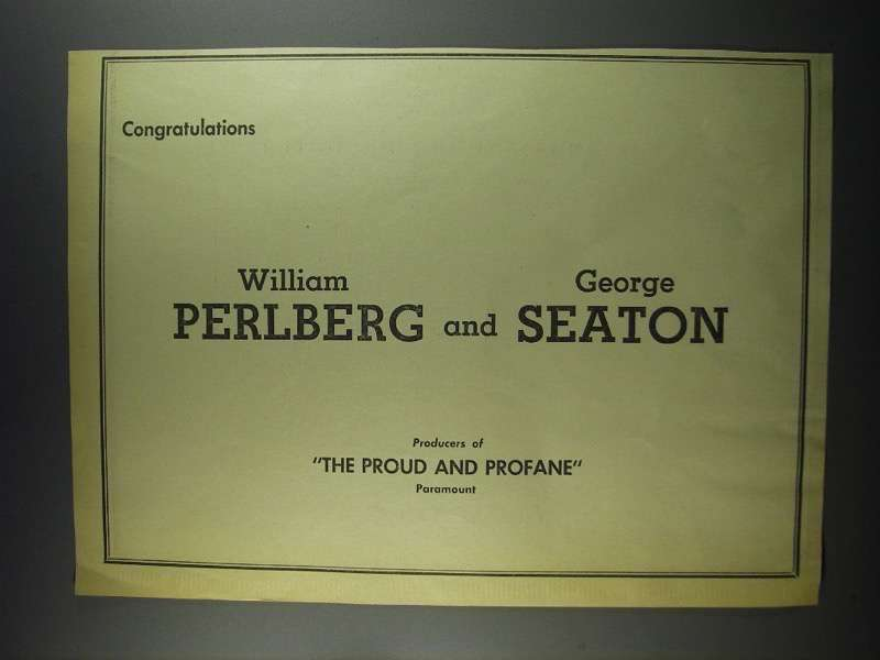 Primary image for 1956 William Perlberg & George Seaton Ad - Variety 50th