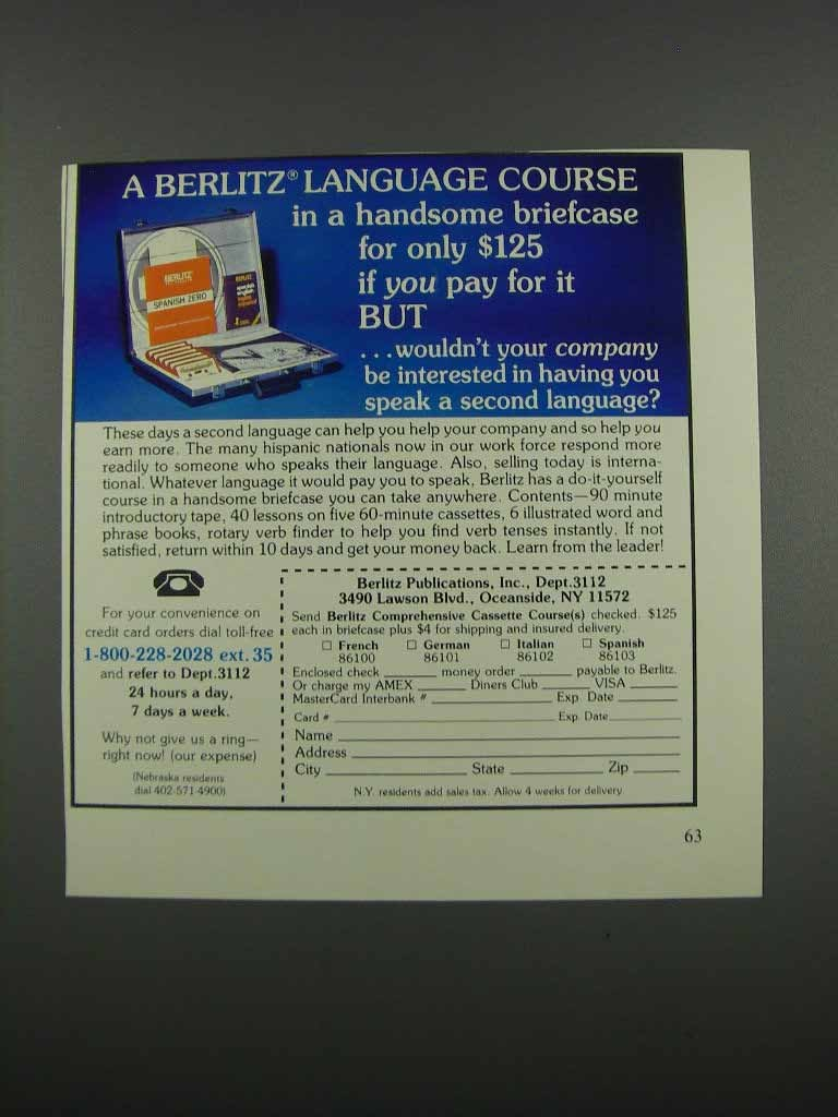 Primary image for 1983 Berlitz Language Course Ad