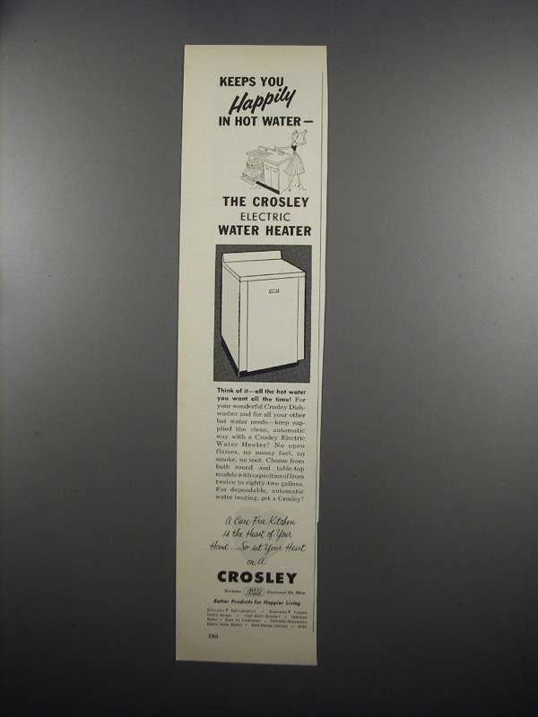 Primary image for 1953 Crosley Elecctric Water Heater Ad - In Hot Water