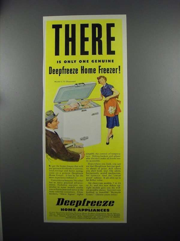 Primary image for 1953 Deepfreeze Model C-75 Home Freeezer Ad