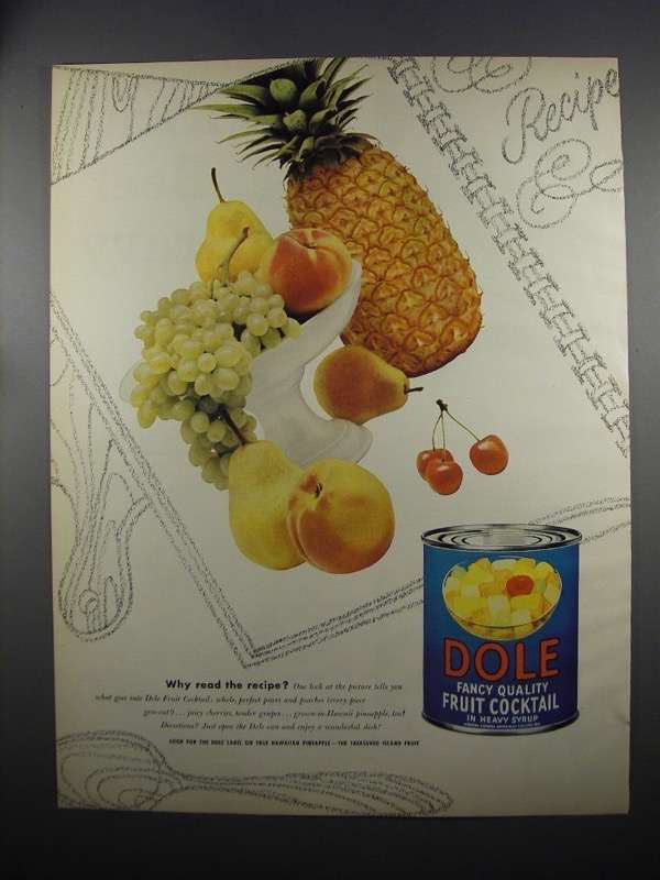 Primary image for 1953 Dole Fancy Quality Fruit Cocktail Ad - Why Read?