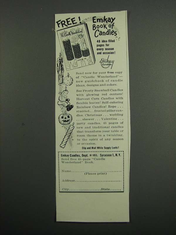 Primary image for 1953 Emkay Candles Ad