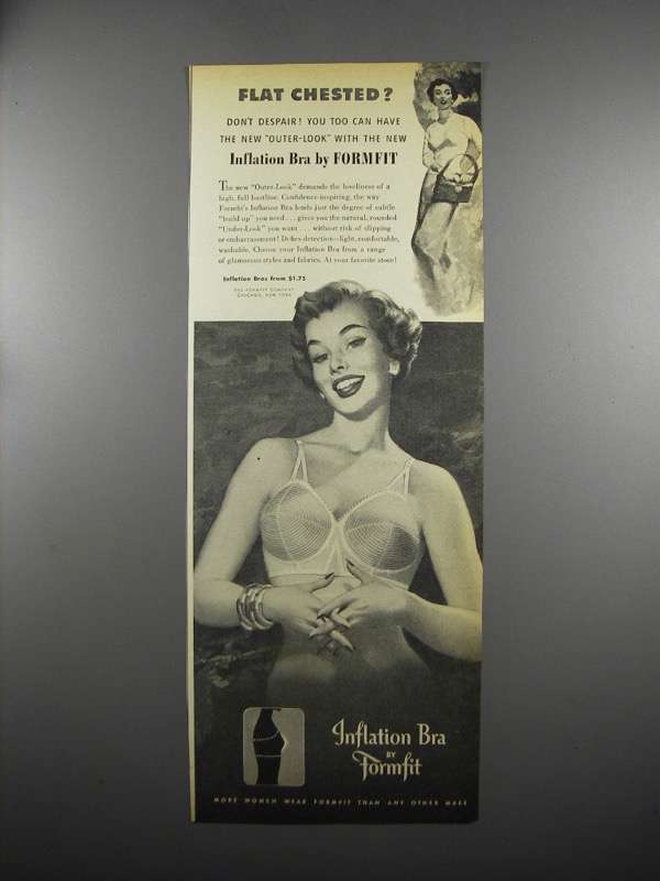 Primary image for 1953 Formfit Inflation Bra Ad - Flat Chested?