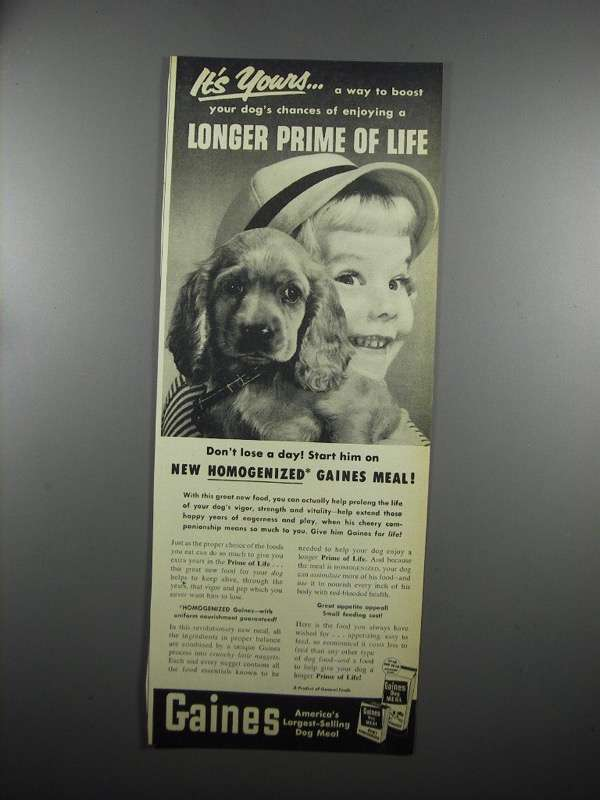 Primary image for 1953 Gaines Dog Meal Ad - It's Yours
