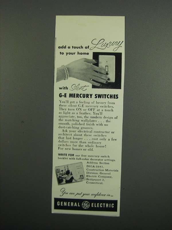 Primary image for 1953 General Electric Mercury Switches Ad - Add Luxury