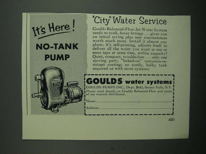 Primary image for 1953 Goulds No-Tank Pump Ad - City Water Service