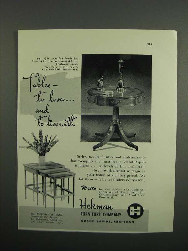 Primary image for 1953 Hekman No. 5336 Modified Provincial Table Ad